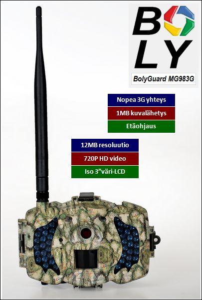 Etäohjattava 3G riistakamera BolyGuard MG983G 12MP HD