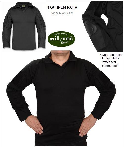 Taktinen paita, RipStop Musta, Warrior, Mil-Tec