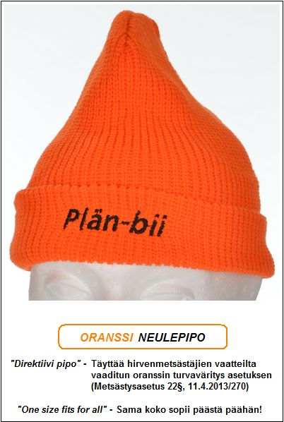 "Direktiivi pipo, Oranssi neulepipo - Akryyli, ""Plän-Bii"" brodeeraus"