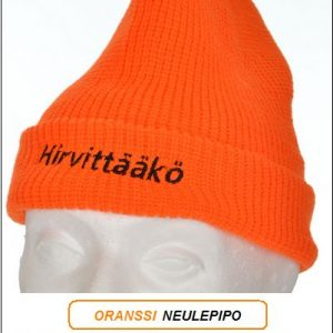 """Direktiivi pipo, Oranssi neulepipo - Akryyli, """"Hirvittääkö"""" brodeeraus"""