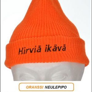 """Direktiivi pipo, Oranssi neulepipo - Akryyli, """"Hirviä ikävä"""" brodeeraus"""