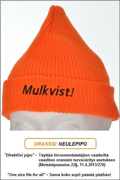 "Direktiivi pipo, Oranssi neulepipo - Akryyli, ""Mulkvist!"" brodeeraus"