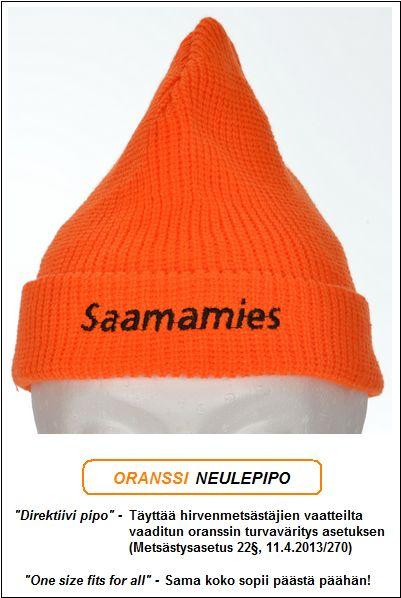 "Direktiivi pipo, Oranssi neulepipo - Akryyli, ""Saamamies"" brodeeraus"