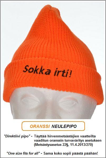 "Direktiivi pipo, Oranssi neulepipo - Akryyli, ""Sokka irti!"" brodeeraus"