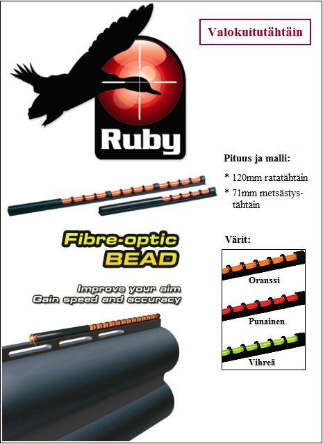 Valokuitutähtäin 120mm, ratahaulikko, Punainen Ruby