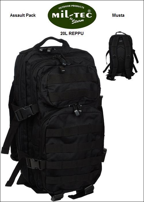 Reppu 20L, Mil-Tec Assault Pack, Musta
