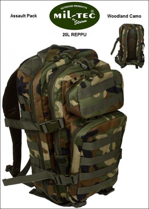 Reppu 20L, Mil-Tec Assault Pack, Woodland Camo väri