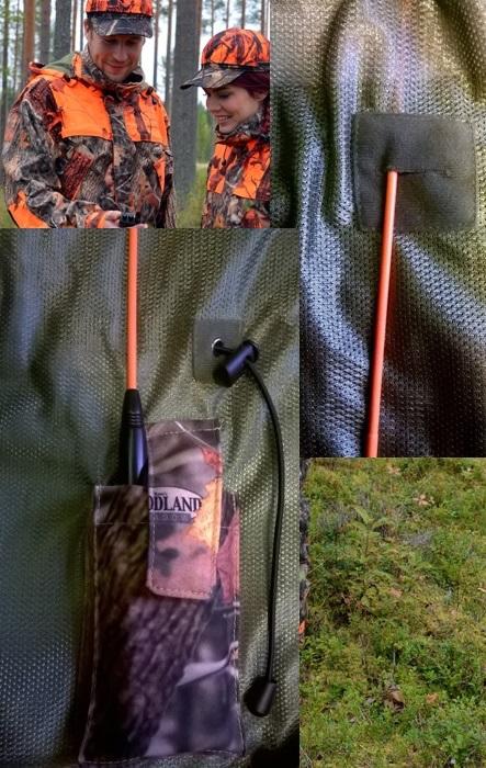 Takin sisäinen VHF tasku ja antennin kiinnike ylhäällä