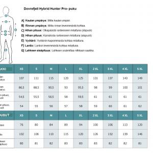 Dovrefjell Hybrid Hunter Pro puku mittataulukko