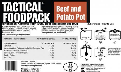 Tactical Foodpack Nauta-perunapata ravintosisältö