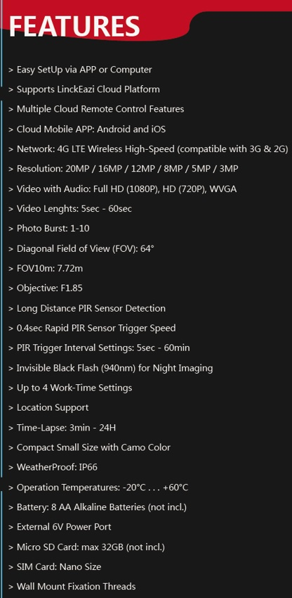 Uovision Compact LTE 4G 20MP Full HD specs